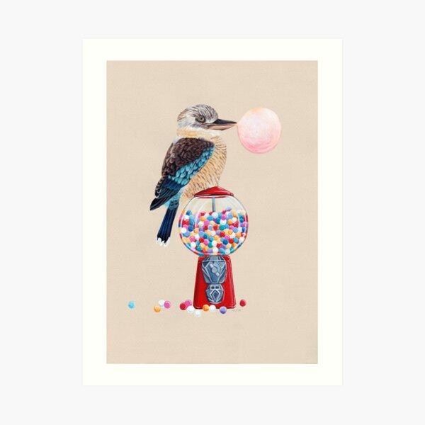 Bird gumball machine Kookaburra Art Print