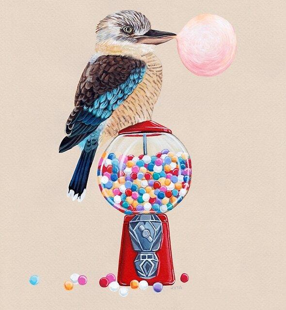 Bird gumball machine Kookaburra by Ruta Dumalakaite