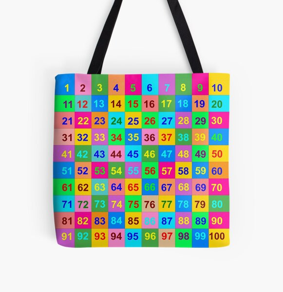 1 to 100 Number Chart All Over Print Tote Bag