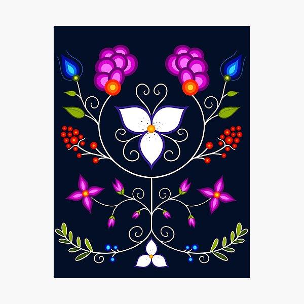 Native American Ojibwe Floral Flower Botanical Digital Illustration Photographic Print