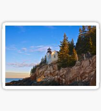 Morning At Bass Harbor Light, Maine Sticker