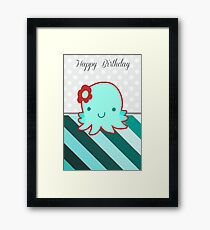 """Happy Birthday"" Flower Octopus Framed Print"