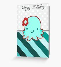 """Happy Birthday"" Flower Octopus Greeting Card"