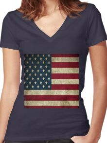 USA Women's Fitted V-Neck T-Shirt