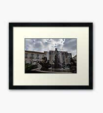La Fontana di Diana - Fountain of Diana Silver Jets and Sky Drama Framed Print