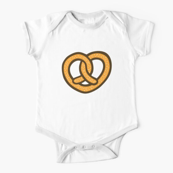 I Heart Pretzels Pattern Short Sleeve Baby One-Piece