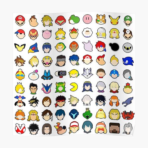 Super Smash Bros Ultimate - Toutes les icônes de stock de personnages (AVEC TOUS LES DLC) Poster
