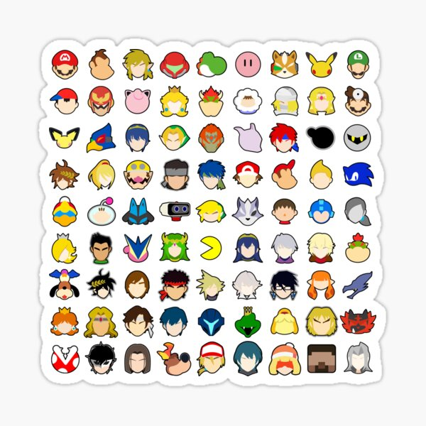 Super Smash Bros Ultimate - All Character Stock Icons (WITH ALL DLC) Sticker