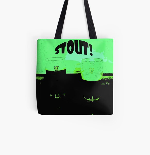 Two Pints of Stout - Green All Over Print Tote Bag