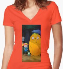 totoro on the rain Women's Fitted V-Neck T-Shirt