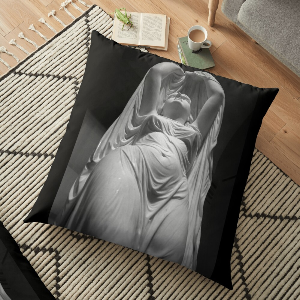 Undine Rising from the Waters. Chauncey Bradley Ives Floor Pillow