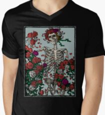 Skeleton & Roses V-Neck T-Shirt