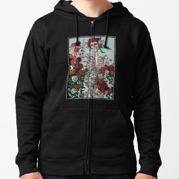Squelette & Roses Veste zippée à capuche