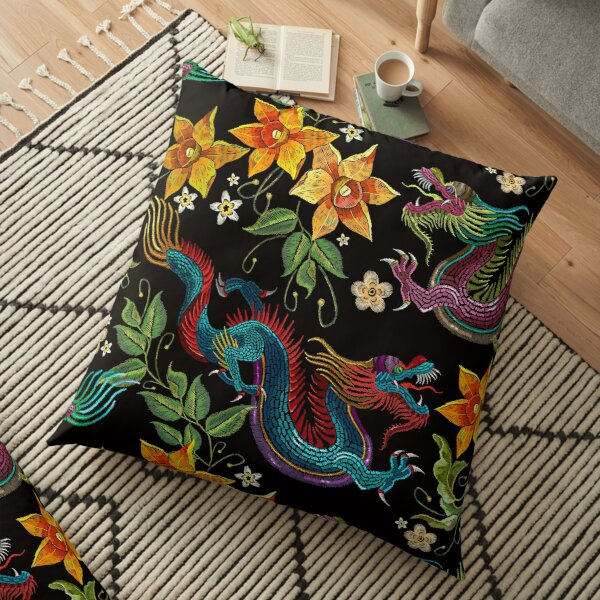 Dragons and beautiful flowers  Floor Pillow