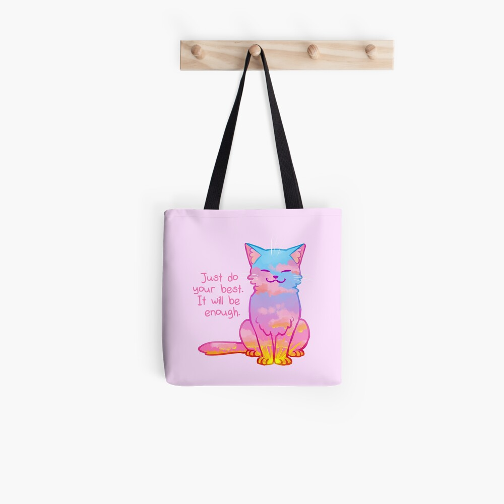 """""""Your Best Is Enough"""" Sunset Cat Tote Bag"""