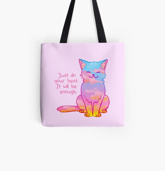 """Your Best Is Enough"" Sunset Cat All Over Print Tote Bag"