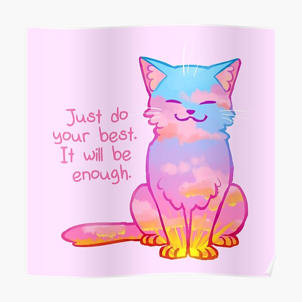 """Your Best Is Enough"" Sunset Cat Poster"
