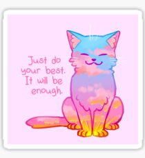 """""""Your Best Is Enough"""" Sunset Cat Sticker"""