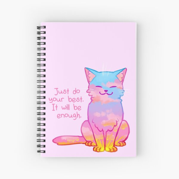 """""""Your Best Is Enough"""" Sunset Cat Spiral Notebook"""