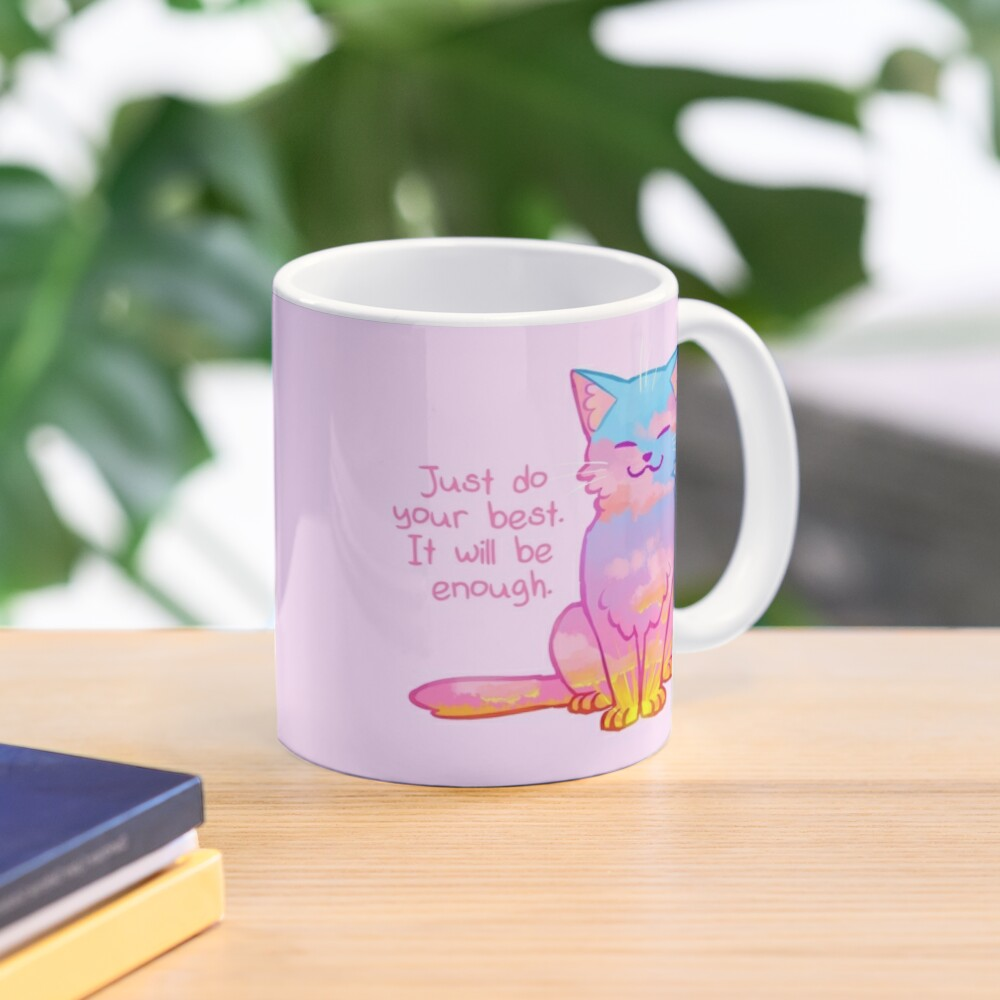 """""""Your Best Is Enough"""" Sunset Cat Mug"""