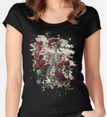 Skeleton & Roses - bleached look Women's Fitted Scoop T-Shirt