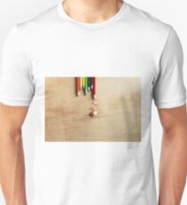 Colored pencils on a wooden board Unisex T-Shirt