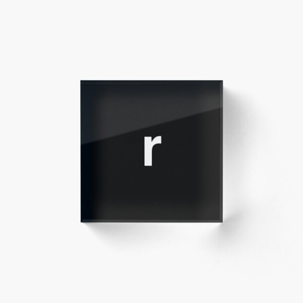 Letter 'r' - (black background, white font) Acrylic Block