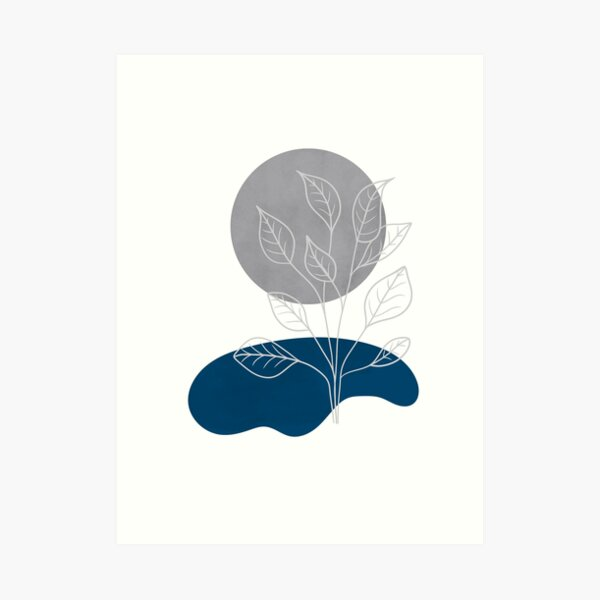 Minimalist line art landscape with a silver moon and a plant by a lake, lines and shapes art in blue, silver and white Art Print