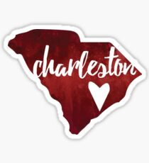 Charleston, South Carolina - red watercolor Sticker