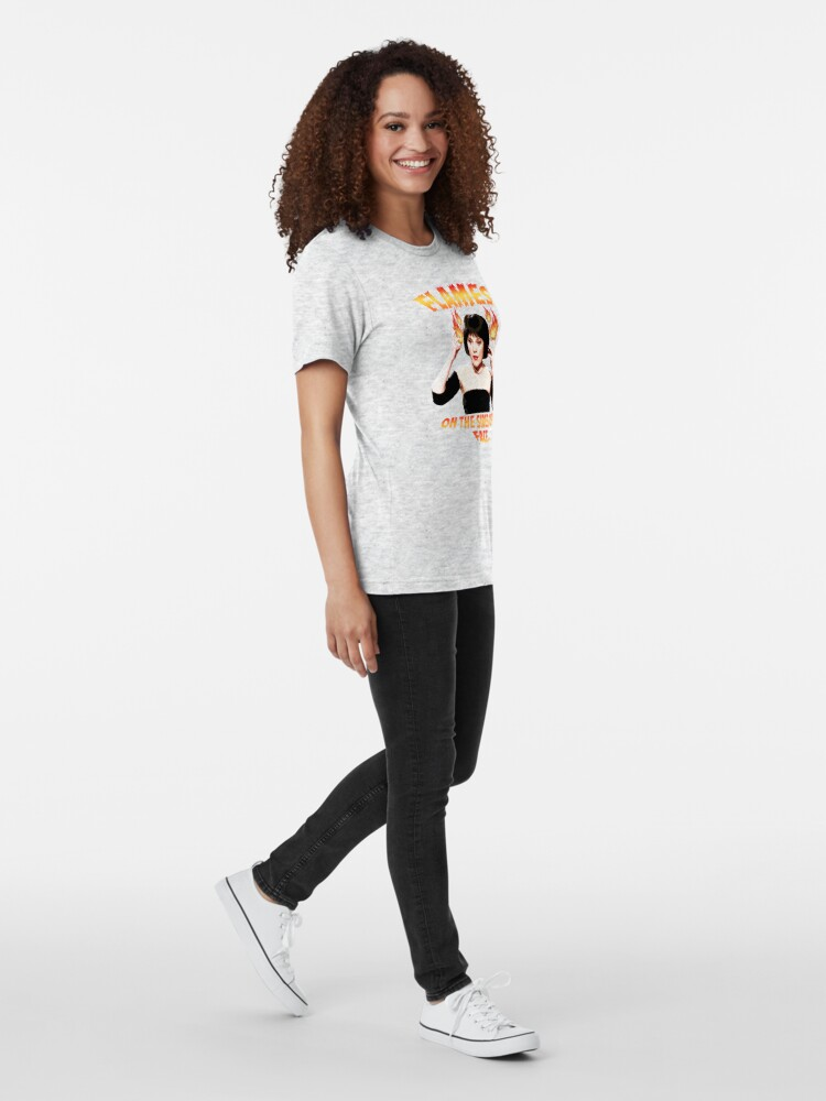 Alternate view of Clue Mrs White Flames Tri-blend T-Shirt