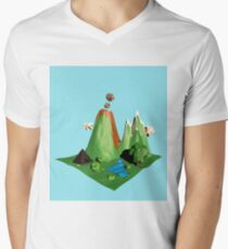 Low poly Landscape Men's V-Neck T-Shirt