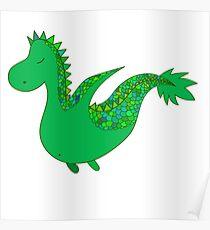 Cute cartoon dragon flying. Poster