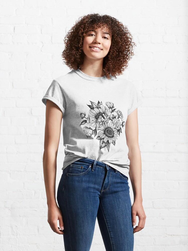 Vista alternativa de Camiseta clásica flores en tinta