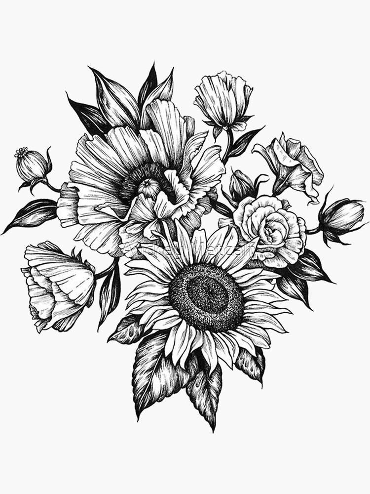 flowers in ink by AUDREYHELLADOPE