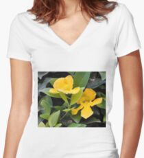 YELLOW TRUMPET VINE OR CATS CLAW Women's Fitted V-Neck T-Shirt