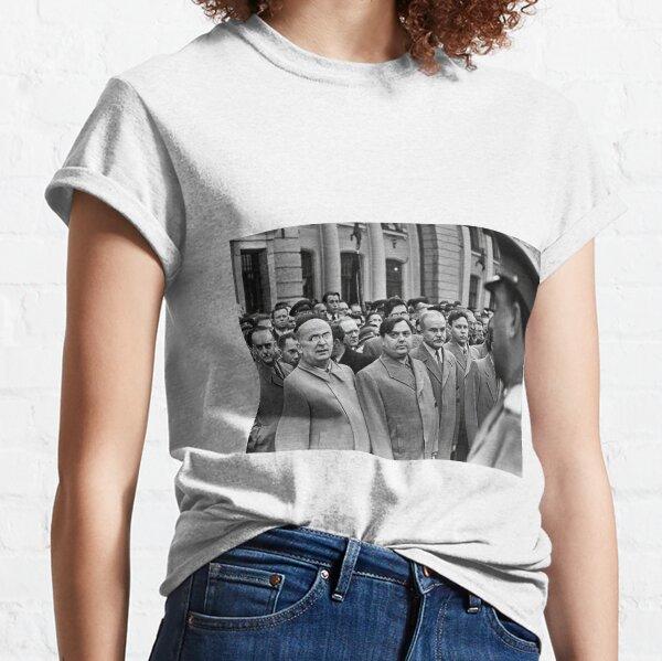 Political Poster, Л. П. Берия смотрит на стоящего напротив В. С. Абакумова. Москва, Белорусский вокзал, 1 сентября 1948 года Фото: Андрей Новиков / Фотоархив журнала «Огонёк» Classic T-Shirt
