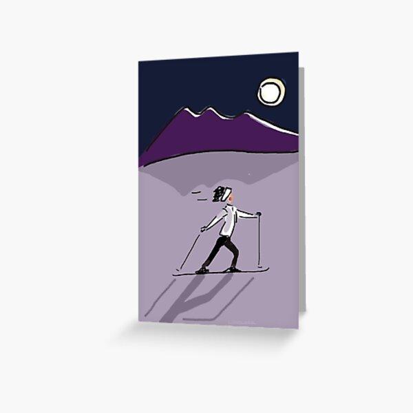 MOONLIGHT SKI Greeting Card