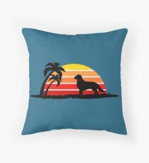 Golden Retriever on Sunset Beach Throw Pillow