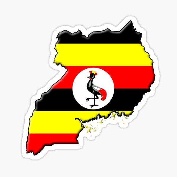 Ugandan flag and outline Sticker