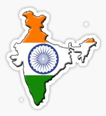 India flag and outline Sticker