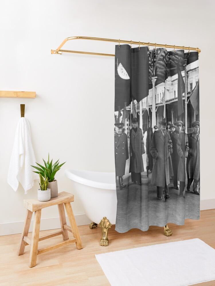Alternate view of В. М. Молотов, Л. П. Берия, Г. М. Маленков, А. И. Микоян, В. С. Абакумов. Москва, 1 сентября 1948 года Shower Curtain