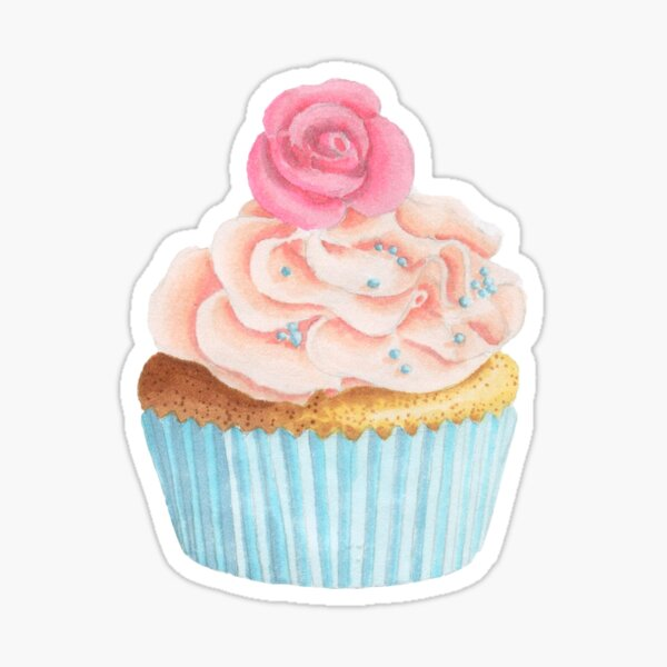 Cupcake sticker, Pink cupcake, frosting, watercolor cupcake, pink  Sticker
