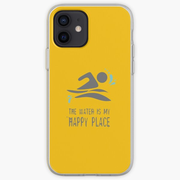 Calling all wild open water swimming, winter bathers.  The Water is my Happy Place fun design for swimmer lovers. Lemon Yellow iPhone Soft Case
