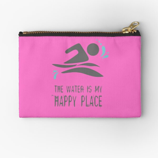 Calling all wild open water swimming, winter bathers.  The Water is my Happy Place fun design for swimmer lovers. Baby pink Zipper Pouch