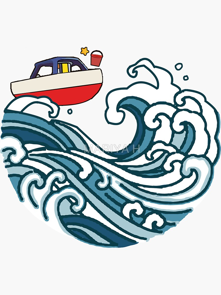 boat on big wave by Maryaartist