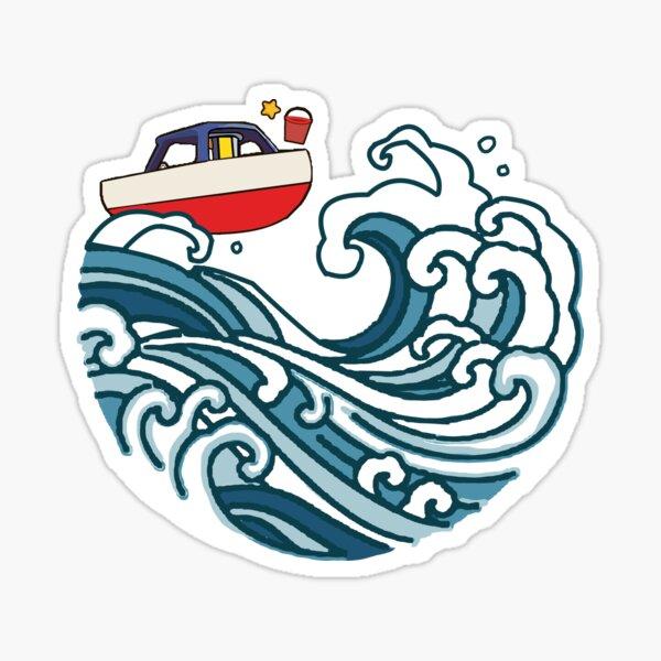 bateau sur grosse vague Sticker