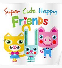Super Cute Happy Animal Friends Poster