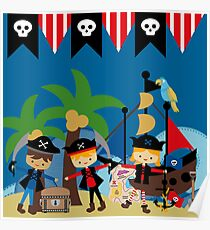Pirates Ahoy With Pirate Ship Poster