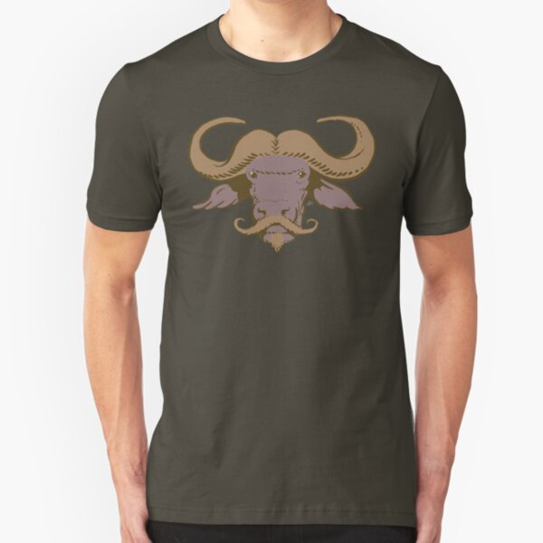 Buffalo Mustache (Brown) Slim Fit T-Shirt