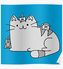 Cute Kitty Cat Family  Poster